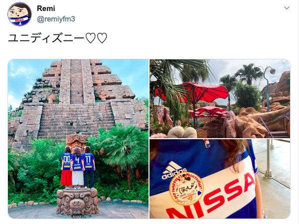 横浜F・マリノスのユニフォームを着て東京ディズニーシーに行った、女子サポ3人の写真がPerfumeに見えて「MY COLORE」が流れた。