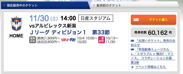 チケット発券枚数定点観測まとめ(2013/11/30 J1sec.33 vs.アルビレックス新潟) | 2013/11/30 9:00