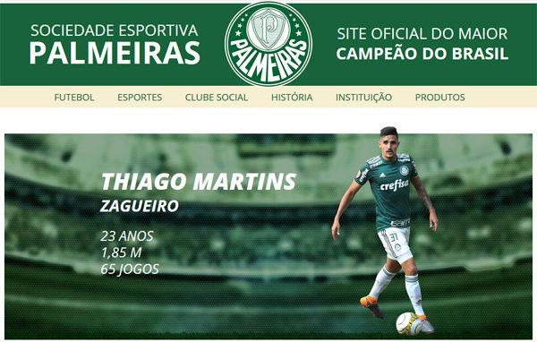 Thiago Martins(チアゴ マルチンス)@パルメイラス(ブラジル1部)[2018-2019 移籍/新加入/契約更改]